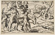 A drunken Silenus riding an ass being supported by satyrs