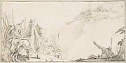 Illustration for a Book:  Cardinal with Troops Facing a Fortification on a Hilltop