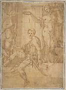 Seated Warrior Between Two Figures