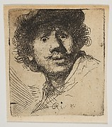 Rembrandt in a Cap, Open Mouthed and Staring: Bust in Outline (copy)