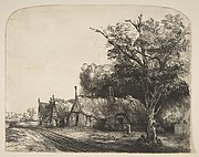 Landscape with Three Gabled Cottages Beside a Road