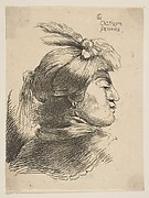 Man Wearing a Small Turban Ornamented with Plumes and Ribbon, Facing Right, from Studies of Small Heads in Oriental Headdress