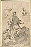 Saint Augustine on Clouds Surrounded by Angels