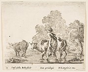 A Peasant Woman Herds Two Cows Across a Stream