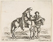 Peasant on Horseback Holding a Basket