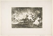 Plate 41 from 'The Disasters of War' (Los Desastres de La Guerra): 'They escape through the flames' (Escapan entre las llamas)