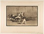 A Moor Caught by the Bull in the Ring (Cogida de un moro estando en la plaza); La Tauromaquia, plate 8
