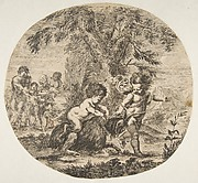 A Child and a Satyr Child Playing with a Goat
