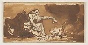 An Old Woman Burning Papers