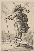 A Man Seen from the Back Leaning on a Cane or Mallet