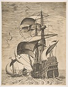 Armed Three-Master on the Open Sea Accompanied by a Galley, from the series  Sailing Vessels