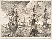 Four-master and Two Three-masters Anchored near a Fortified Island from The Sailing Vessels