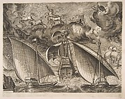 Two Galleys Sailing Behind an Armed Three-Master with Phaeton and Jupiter in the Sky, from the series of Ships