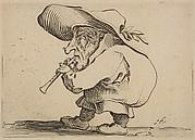 Le Joueur de Flageolet (The Flageolet Player),  from Varie Figure Gobbi, suite appelée aussi Les Bossus, Les Pygmées, Les Nains Grotesques (Various Hunchbacked Figures, The Hunchbacks, The Pygmes, The Grotesque Dwarfs)