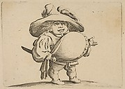 L'Homme au Gros Ventre Orné d'une Rangée de Boutons (Man with a Large Belly Decorated with a Row of Buttons),  from Varie Figure Gobbi, suite appelée aussi Les Bossus, Les Pygmées, Les Nains Grotesques (Various Hunchbacked Figures, The Hunchbacks, The Pygmes, The Grotesque Dwarfs)