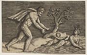 A Naked Man Pursing a Naiad