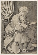 The Virgin in profile facing right reading to the infant Christ