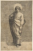 Saint Matthew holding a pouch