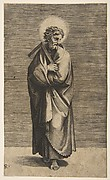 Saint Thomas holding a square rule, his head turned to the right