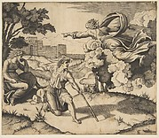 God appearing to Isaac; God floating in clouds pointing toward Rebecca seated under a tree at left, Isaac kneeling in the center holding a large stick and also pointing to Rebecca