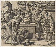 Noah's Sacrifice; Noah at right with his hands clapsed in prayer before a fire upon an altar, two men sacrificing a ram on the ground and another bringing a second ram, two men leading two cows and a camel behind the fire