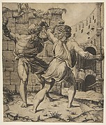Entellus and Dares fighting in front of classical ruins