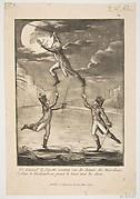 Le Général la fayette soutenu sur les batons des marechaux Lukner et Rochambeau prend la Lune avec les dents