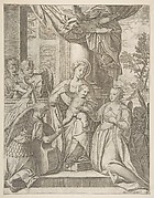 The mystic marriage of Saint Catherine who sits at center with the Christ child, angels with instruments at the left