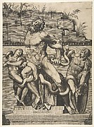 Laocoön and his two sons standing on a pedestal and being attacked by serpents, a wall in ruins behind them