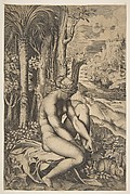 Venus removing a thorn from her left foot while seated on a cloth beside trees and foliage, a hare eating grass before her