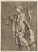 Woman returning from a hunt carrying a boar in her left hand and a stick on her right shoulder to which a hare and two ducks are tied