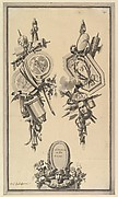 Two Designs for Trophies and a Cartouche