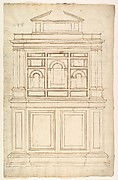 Court Cupboard (recto); Half-page of rectangles, numbered and lettered (verso)