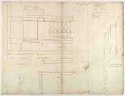 St. Peter's, exterior, tabernacle, elevation and section at base with details of pedestal and railing, (recto) St. Peter's, exterior, tabernacle, elevation and section at arched opening (verso)