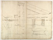 Temple of Hercules, Cori, plan, elevation; portal, details; Doric order, details (recto) St. Peter's, drum, section (verso)