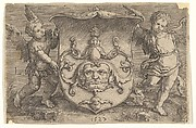Coat of Arms with a Mask, Held by Two Genii