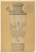 Design for Tall Glass with Silver Foot and Top and Rooster Designs
