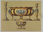 Design for Large and Small Silver Dishes and Pair of Candlesticks