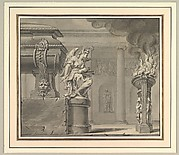 Classical Scene with a Tomb and Flaming Brazier