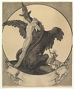 Study for a Bookplate with St. George Rescuing a Maiden from a Dragon