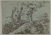 Rugged Moonlit Landscape with a Woman Seated by Gnarled Tree Roots, and an Owl