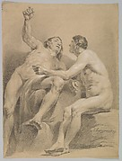 Two Male Nudes, One Seated and One Semi-reclining