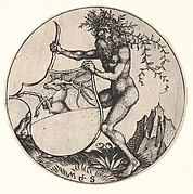 Shield with Stag Held by Wild Man