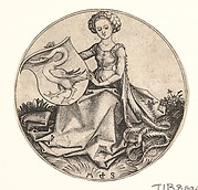 Shield with Swan Held by Woman