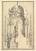Elevation and Section of the Catafalque for Anna Cristina, Wife of Carlo Emanuele III of Savoy