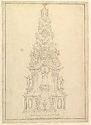 Elevation of a Catafalque: the Central Part Comprised of a Series of Steps to Top; with Statues and Central Cartouche with a Figural Scene: a Figure Kneeling before Virgin and Child (?)