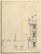 Views of a Theater (Bayreuth): Profile View of Facade and Half of the Plan