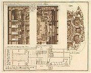 Designs for the Theater at Nancy: View of Half the Proscenium and a Half a Section of It; End of the Ceiling; and Ground Plan