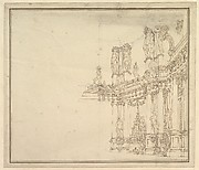 Design for a Stage Set: Palace Hall with Columns and Statues.
