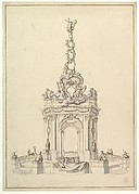 Design for a Festival Monument: Base Holds a Small Orchestra; Triumphal Arch Surmounted by a Cartouche-Decorated Pyramid with Figure of Fame, below, a Royal Crown.